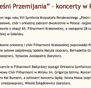 Piesni przemijania - Penderecki